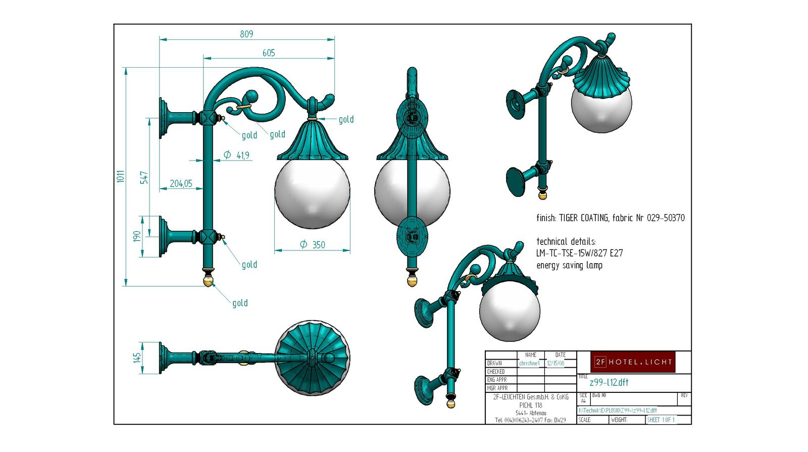 Wall lamp H=1011 B=809 technical details: 2x13W GX24q-1