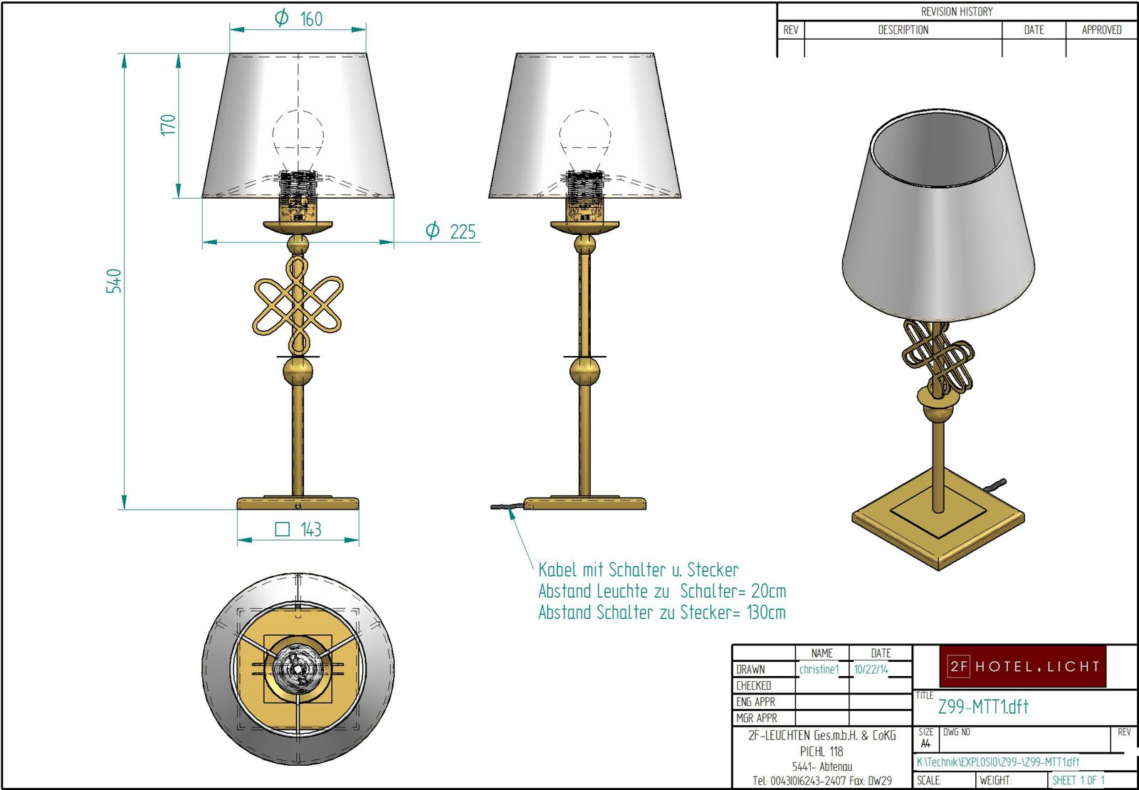 Table lamp L:180 B:180 H:530 technical details: 1xE27 60W