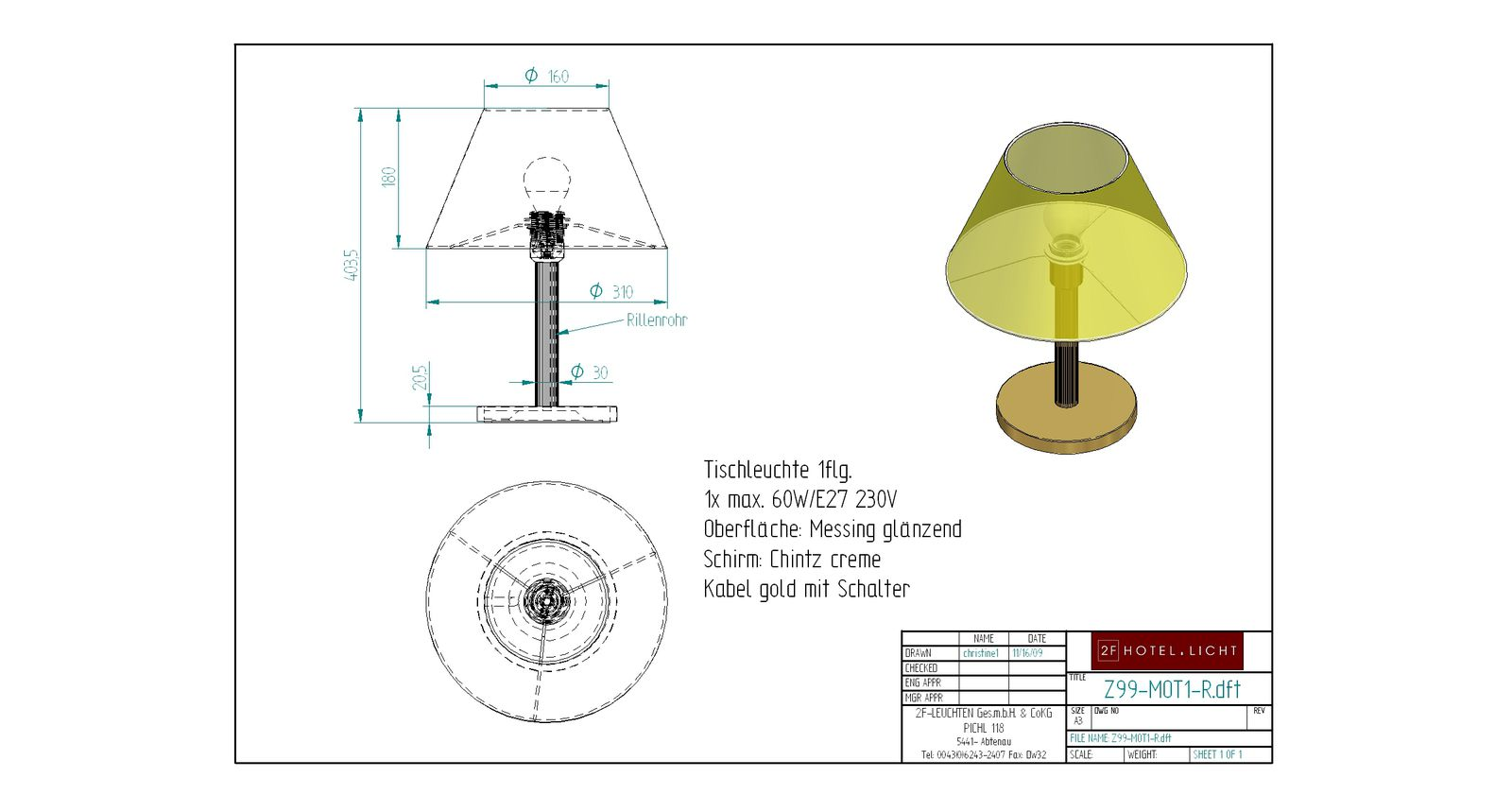 Table lamp H=310 technical details: 1x60W E27
