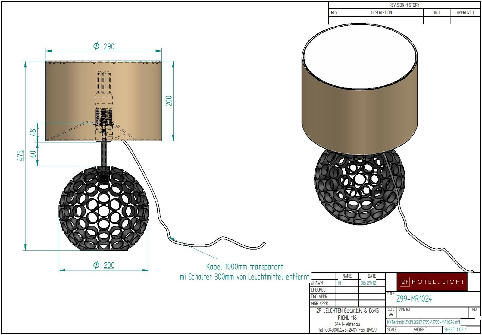 Table lamp H=475 Ø=290 technical details: 1xE27 40W + 1xG9 40W