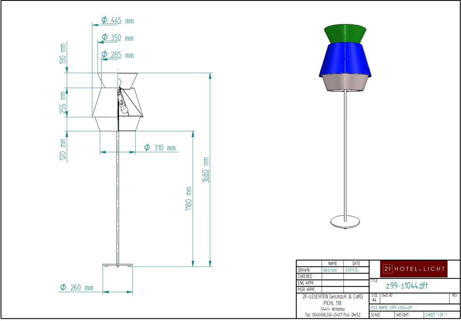 floor lamp 3 flg., height=1680mm, techn. details: 3xE27, 60W