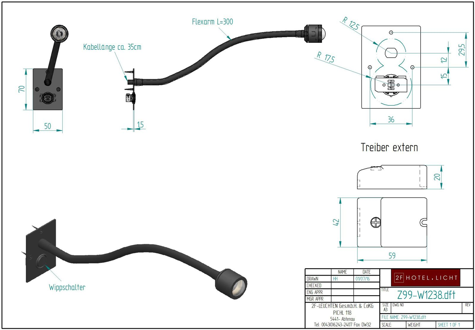 LED Flexlighting with switch, length flexarm=300mm, surface: coated softblack, techn. details: 1W LED warmwhite
