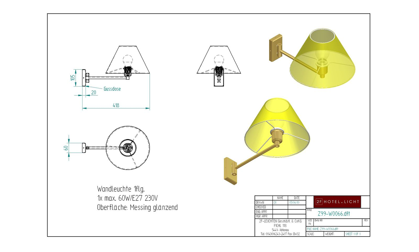 Wall lamp L=420 B=270 H=300 technical details: 1xE27 max 60Watt