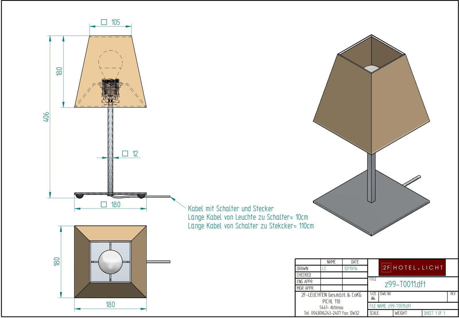 table lamp 1 flg., height=407mm, base plate=180mm, shade: 180mmx180mm, suface: brushed nickel, technical details: 1xE27, 40W