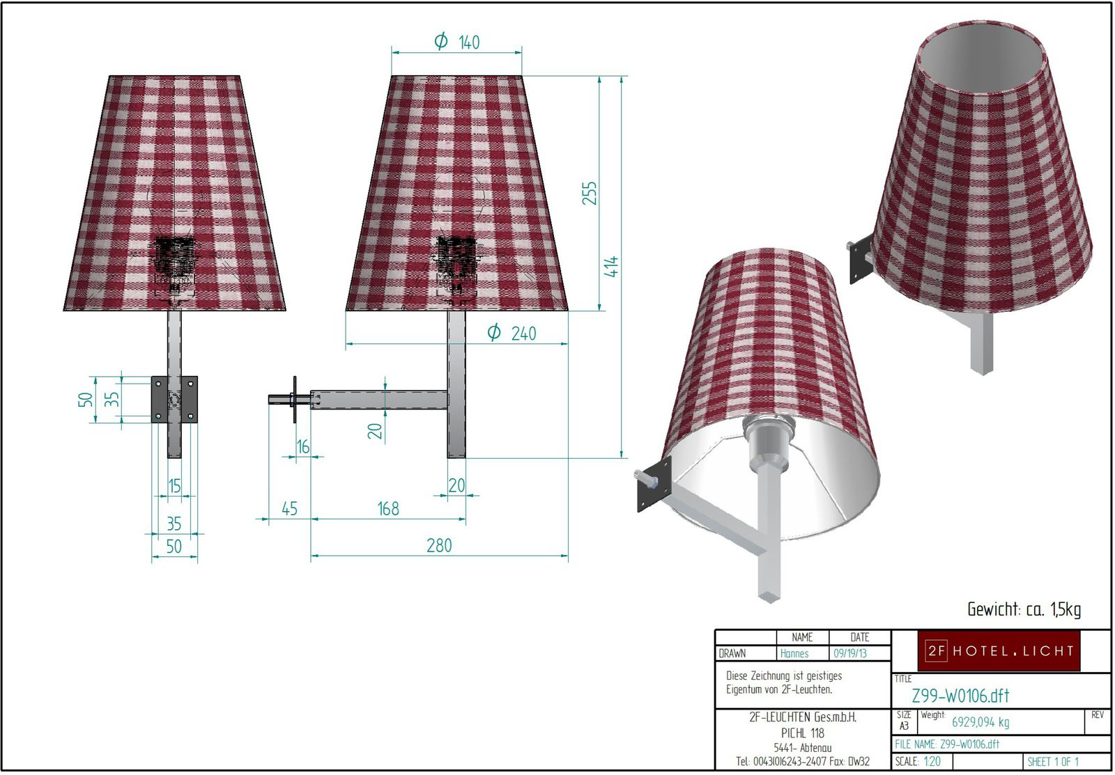 wall lamp, lenght=280mm, wide=240mm, height=415mm, surface: brushed nickel, technical details: 1xE27, 1x60W + cable 2m