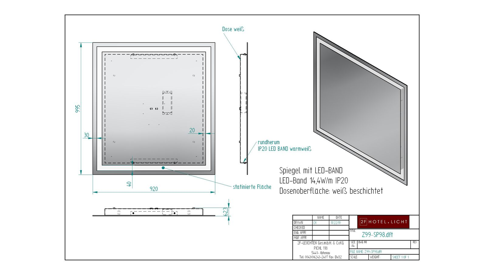 mirror, wide=920mm, height=995mm, techn. details: LED 14,4W 24V
