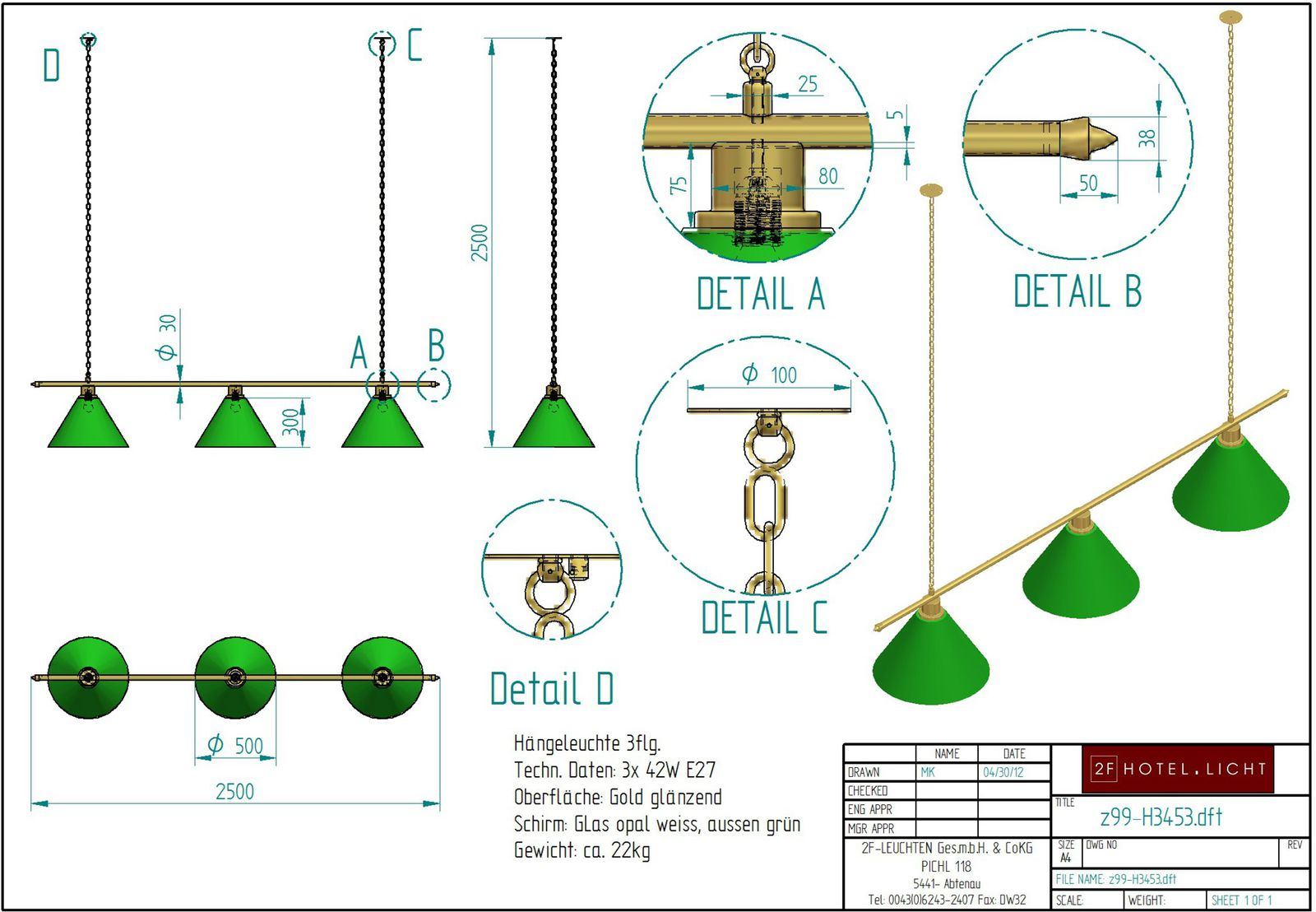 hanging lamp, lenght=2500mm, wide=500mm, height=2500mm, surface: polished gold, Glass green and white, techn. details: 3xE27, 42W