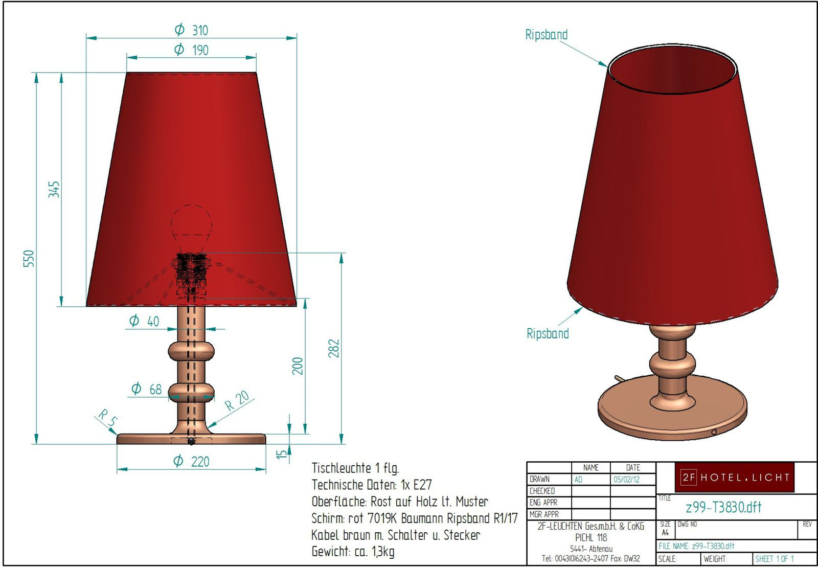 Table lamp, lenght=Ø310mm, height=550mm, surface: wood, techn. details: 1xE27. 42W