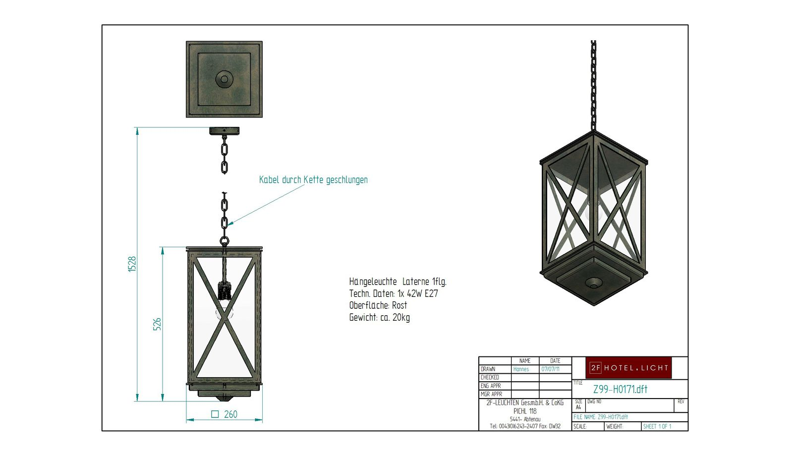 Pendant lamp, lantern, lenght=260mm, wide=260mm, height=1528, surface/colour= rust/black, techn. details: 1xE27, 42W clear glass
