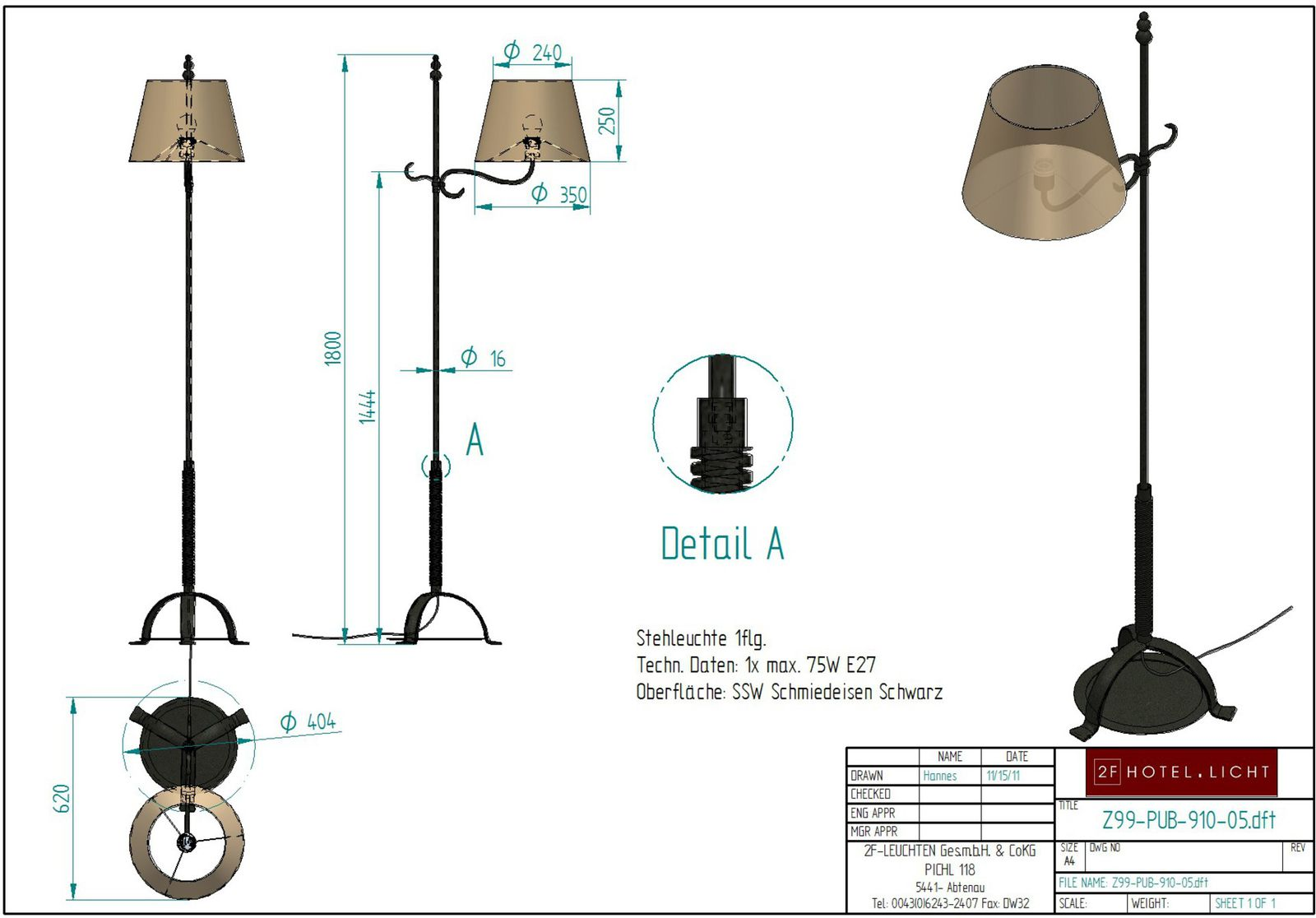 Floor lamp, height=1800, wide complete=620mm, shade: height=250mm, diameter: 240x350mm, surface: black wrought iron, techn. details: 1xE27, 75W
