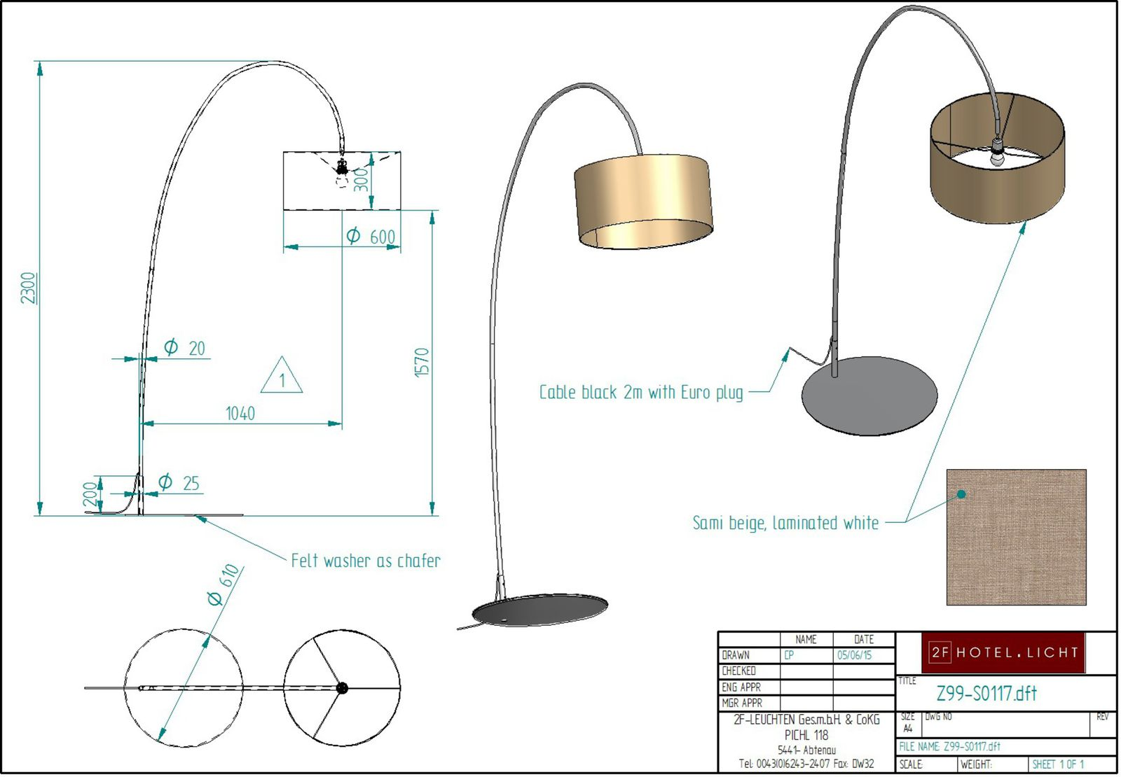 Floor lamp lt. sample, Shade Ø up=500mm, Ø down=750mm, h=250mm, OF: black, techn. details: 1xE27, max. 72W