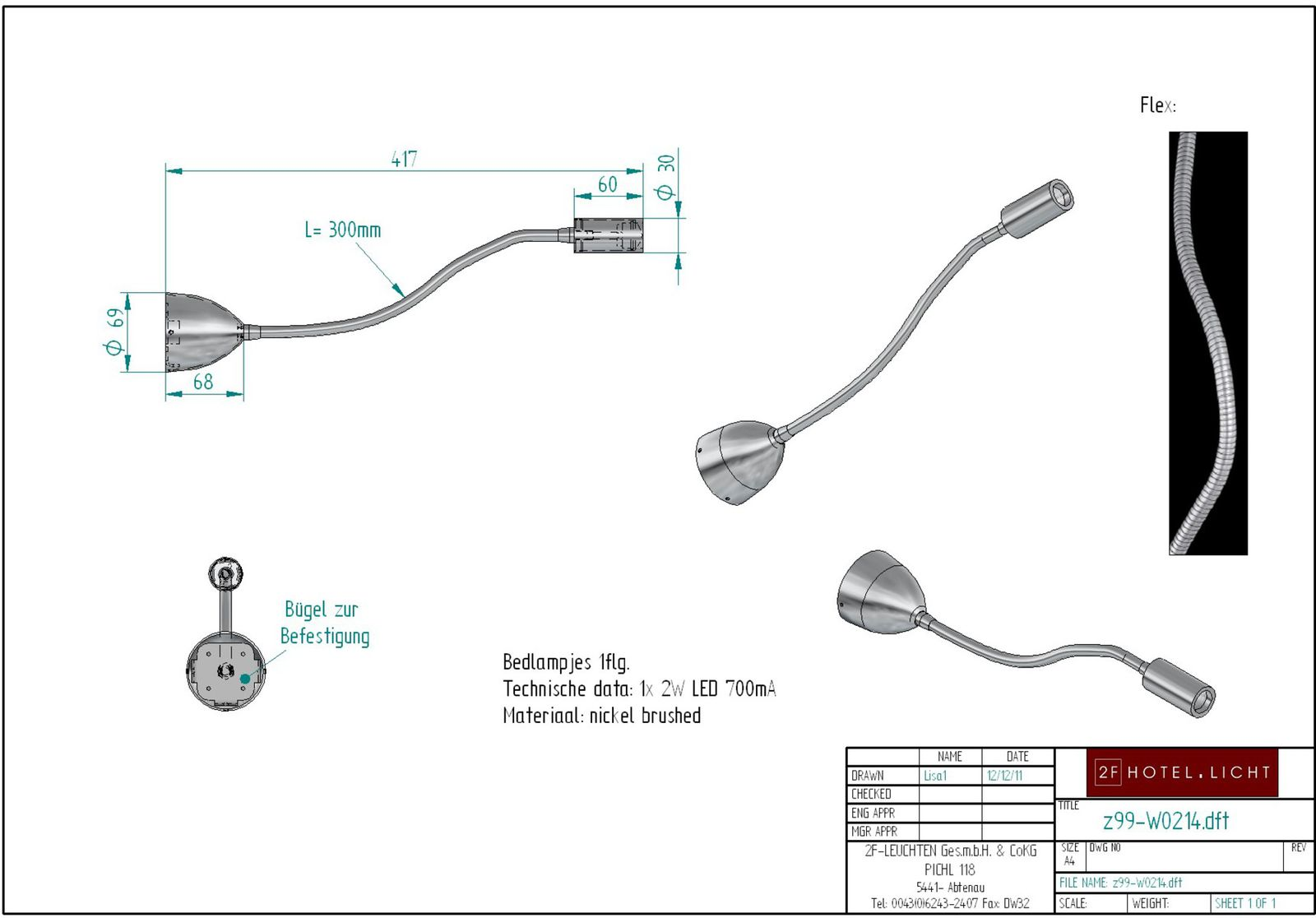 Z99 W0214 Product 2f Hotellicht Tel Cable Wiring Diagram Led Reading Lamp Lenght Complete417mm Diameter69mm Flexarm