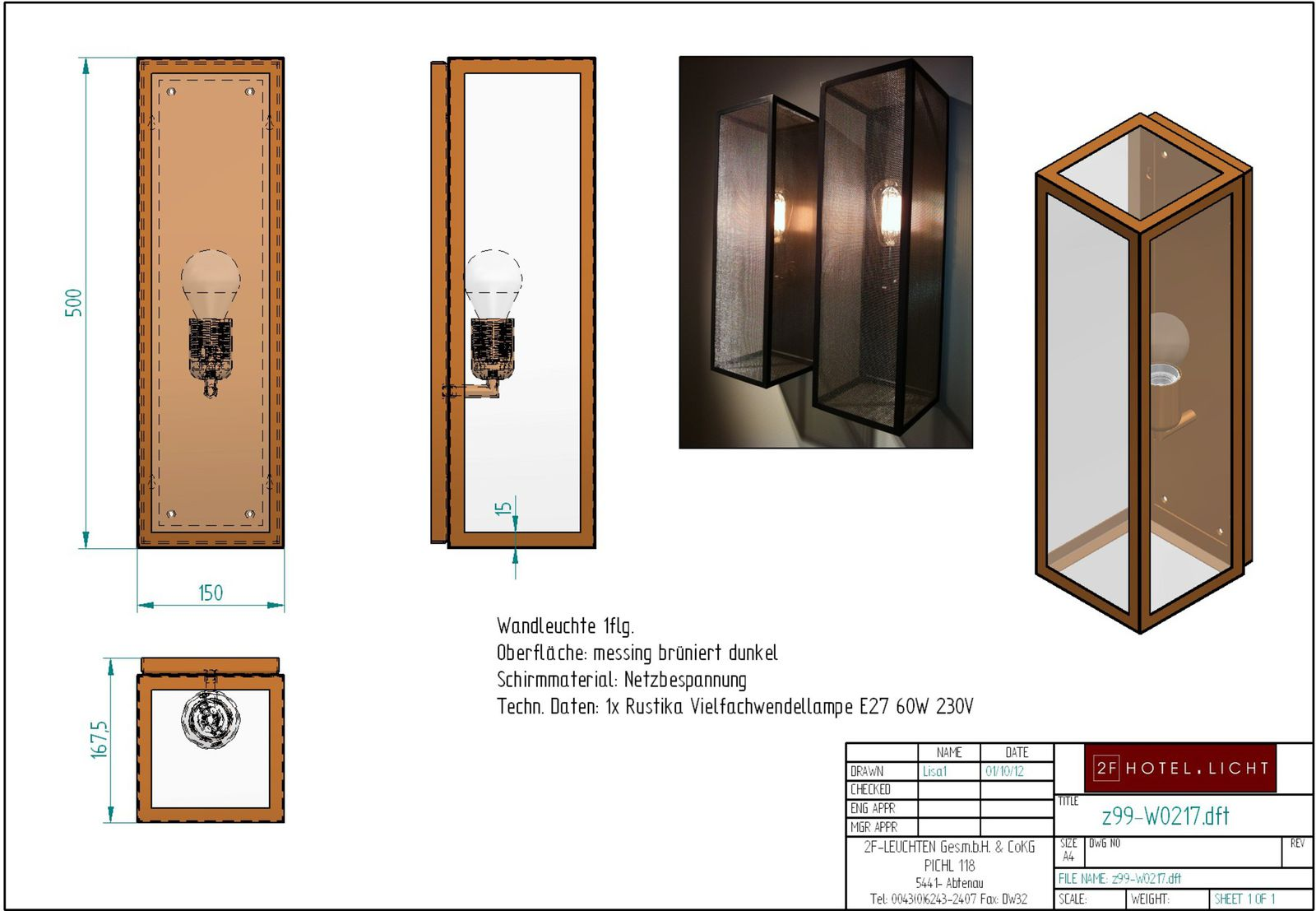 wall lamp, lenght=167mm, wide=150mm, height=500mm, surface: dark bronzed brass, techn. details: 1xE27, 60W
