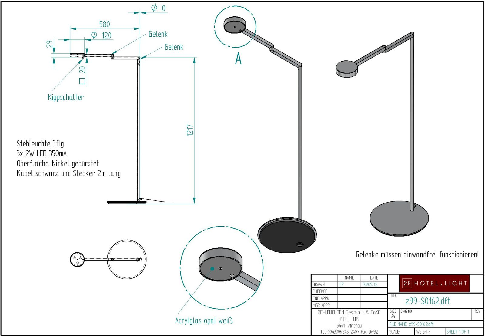 floor lamp 3 flg., height=1200mm, wide=780mm, surface: brushed nickel, cable black with plug, techn. details: 3x 2W LED 350mA