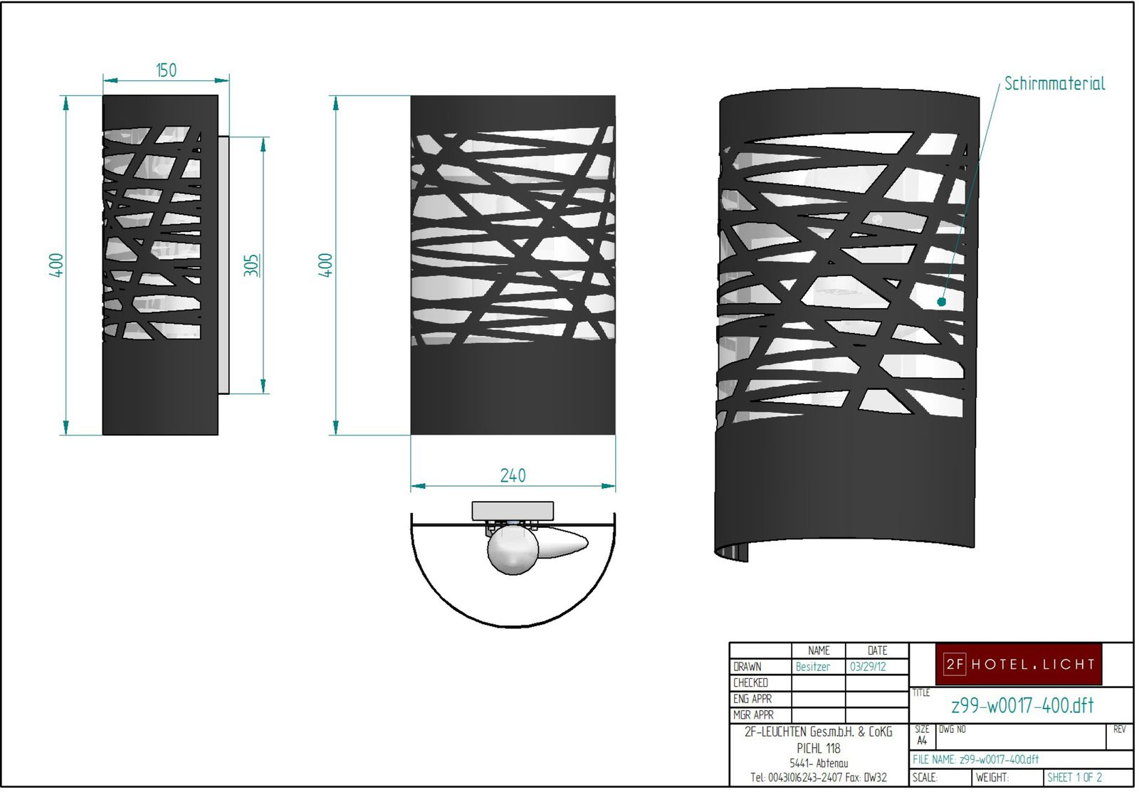 wall lamp, measure: height=400mm, wide=240mm, dept:150mm, material: metall, techn. details: 2xE27, 52W, 1xE14, 28W