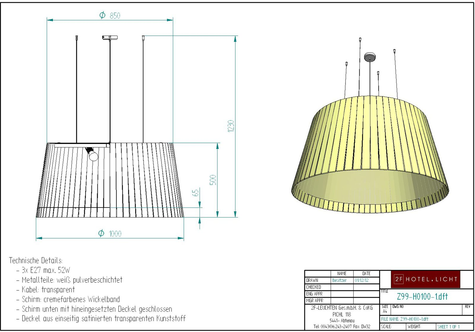 pendant lamp, height complete: 1230mm, shade: height=500mm, diameter: 1000x800mm, techn. details: 3xE27, 52W
