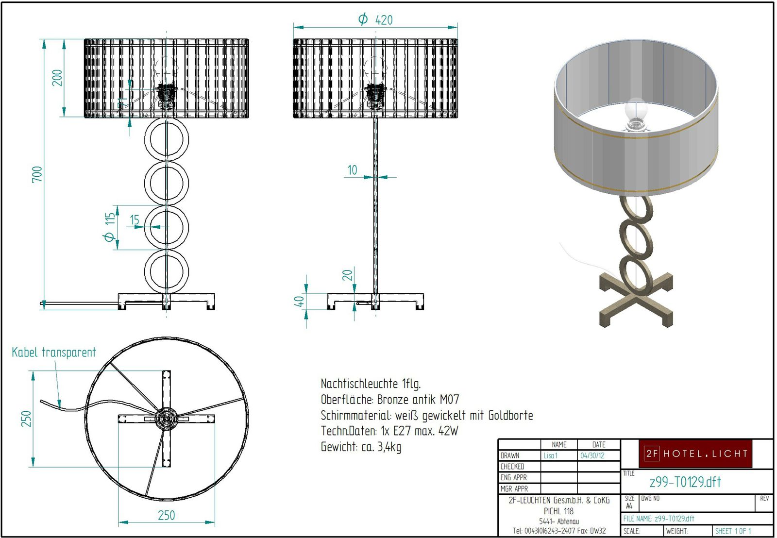 nighttablelamp, height=702mm, wide=420mm, shade: height=200mm, diameter=420mm, surface: bronce antik, techn. details: 1xE27, 42W