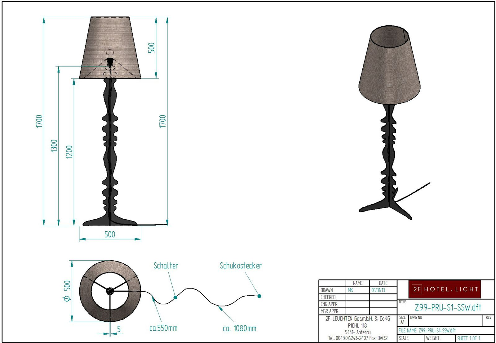Floor lamp Pure Rustica 1 flg., measure: height complete=1700mm, shade height=500mm, diameter at the top=310mm, surface: bronzed soft black, techn. details: 1xE27, 28W/230V