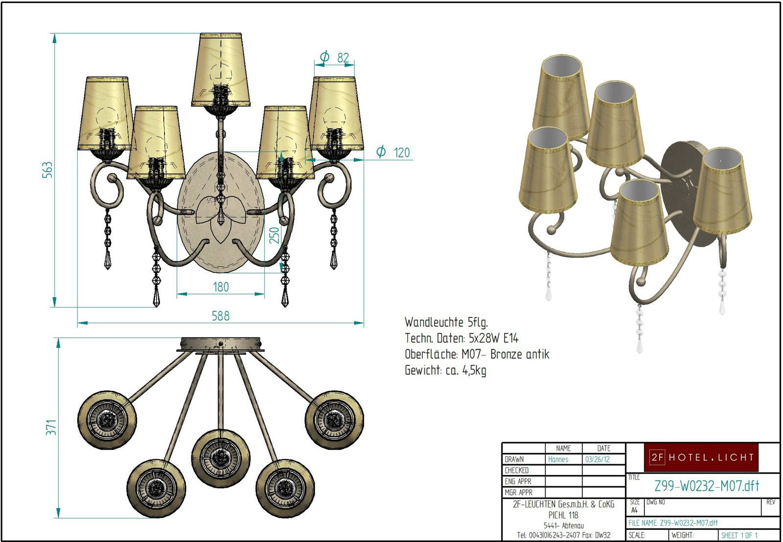 wall lamp, lenght=371mm, wide=588mm, height=563mm, surface: bronce antique (steel), techn. details: 5xE14, 5x28W