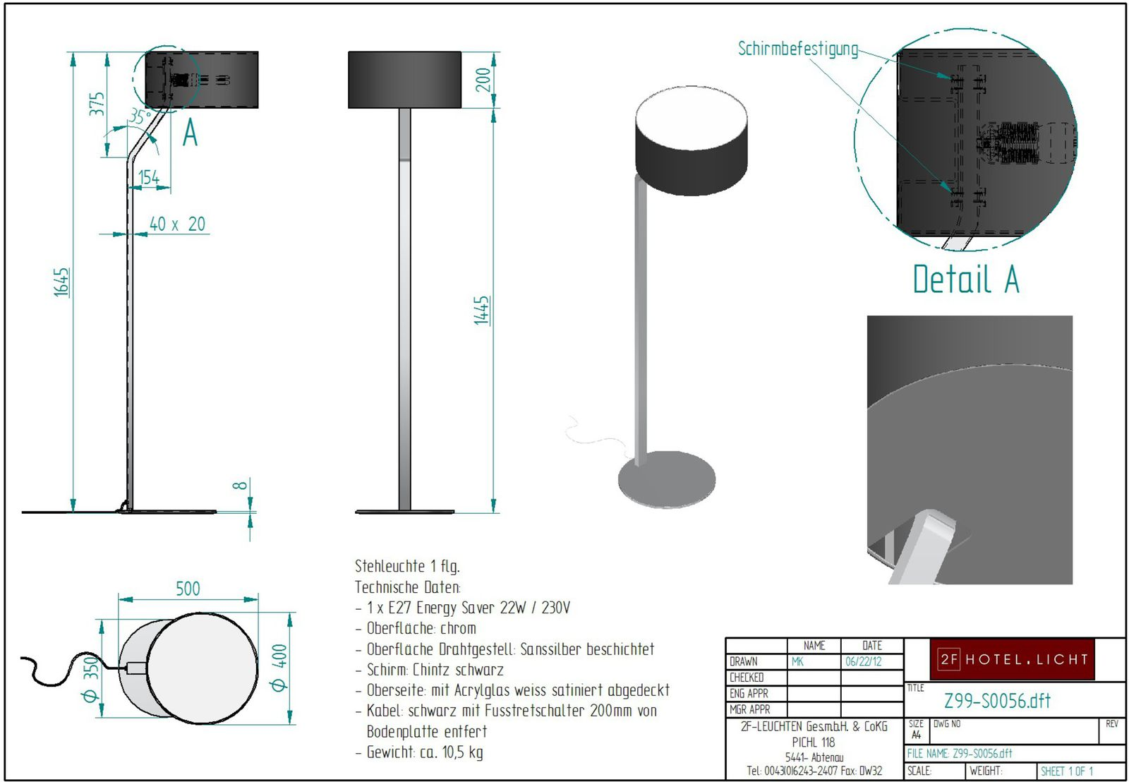 floor lamp, 502x350mm, height=1645mm, surface: chrom