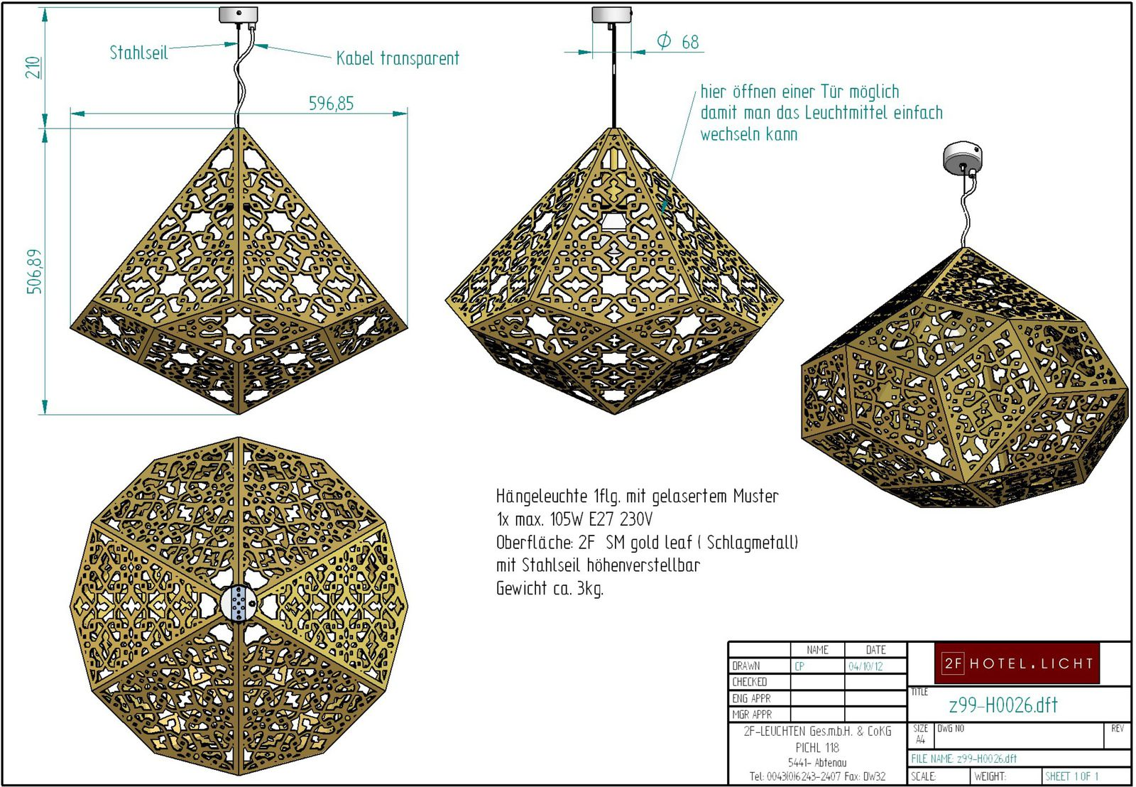Pendant lamp, lenght= diameter=580mm, height=500mm, surface: gold leaf, techn. details: 1xE27, max. 105W, 230V