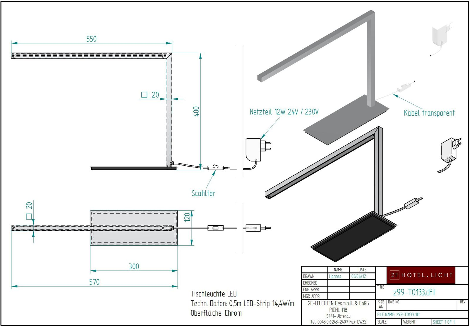 Table lamp, lenght=570mm, wide=120mm, height=400mm, surface: polished chrom, techn. details: LED-Strip 7,2 W 24V