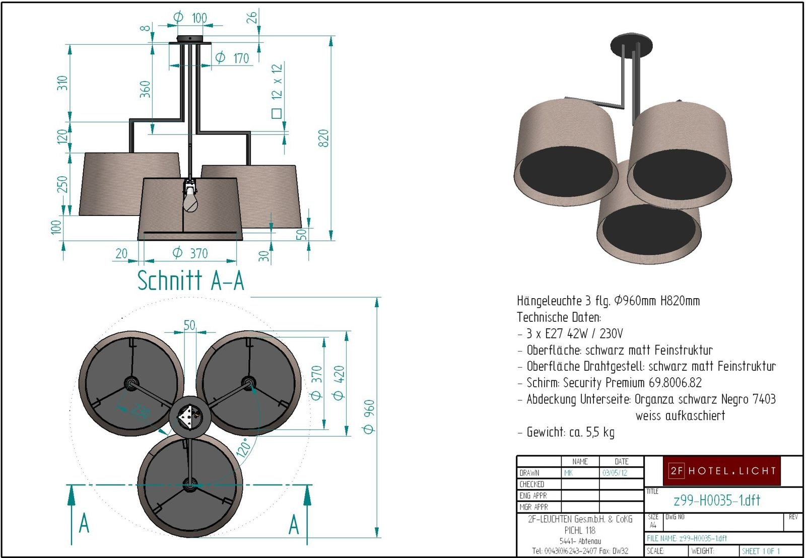 pendant lamp, wide 1x500mm, 1x420mm, 1x350mm, shade 400x250mm, surface: bronzed brass, techn. details: 3xE27, 60W
