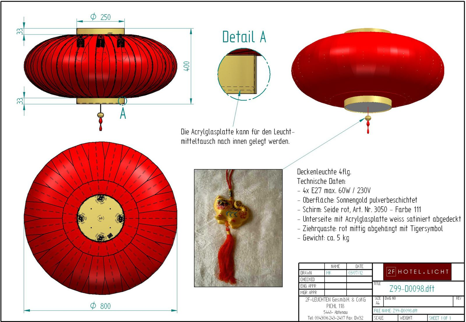Ceiling lamp China, diameter=800mm, height=400mm, red