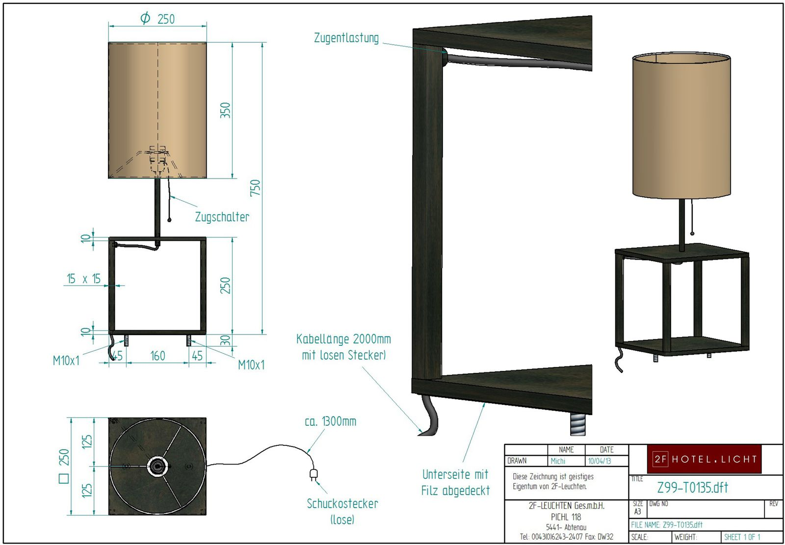 Table lamp, l=250mm, wide=250mm, h=750mm, surface: RO, techn. Data: 1xE27, 60W, cable black