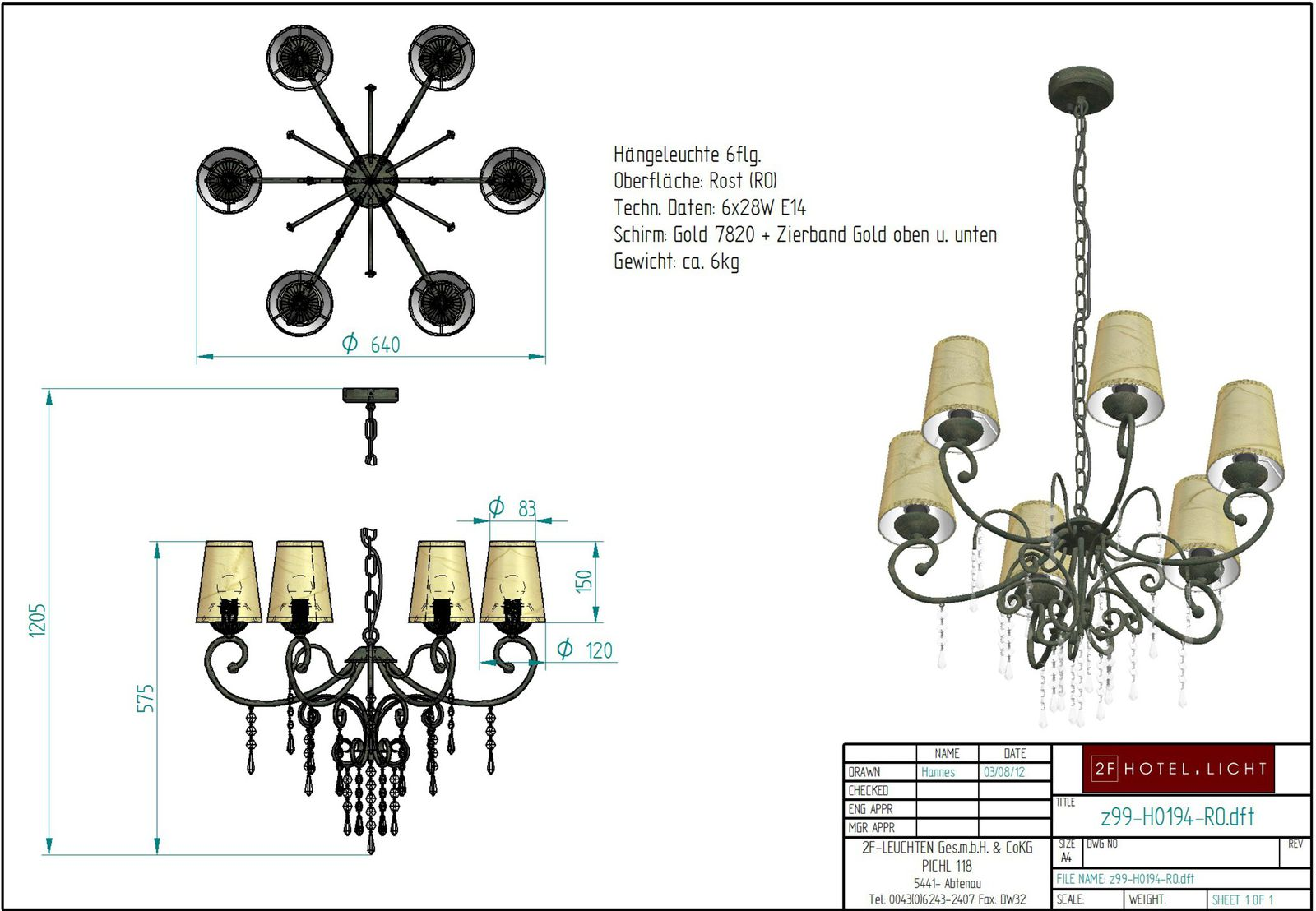 Hanging lamp 6flg. measure: length diameter=640mm, height=1200mm, surface: softblack, techn. details: 6xE14, 6x28W