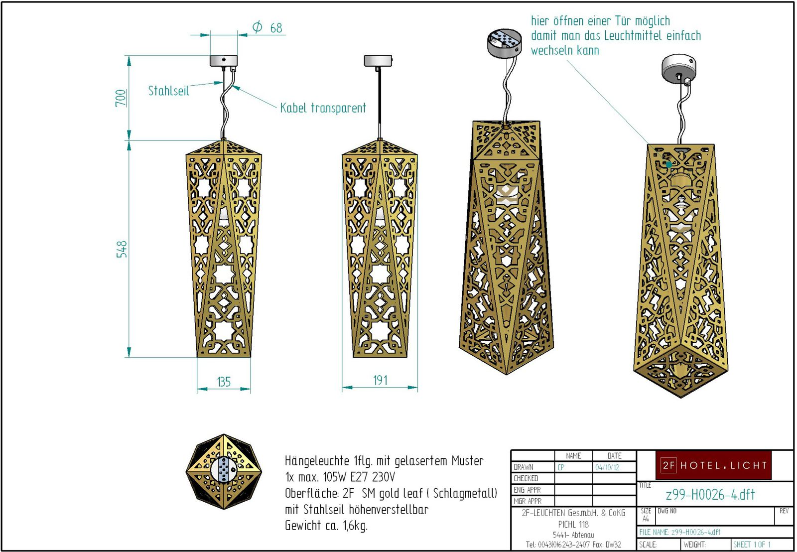 Pendant lamp, height=1248mm, wide=191mm, surface: gold leaf, techn. details: 1xE27, max. 105W, 230V