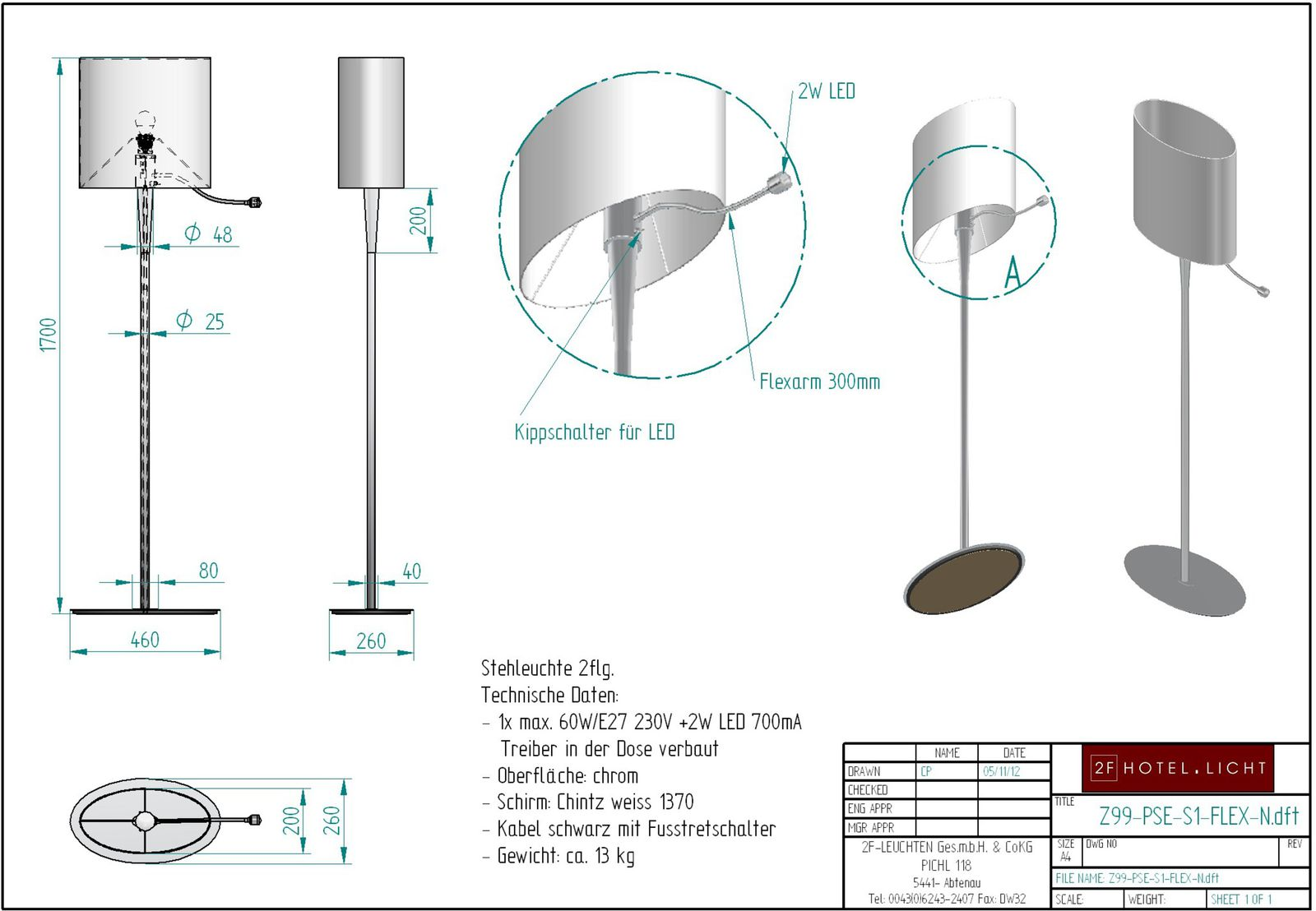 table lamp with flexarm Pure Seed, measure: 460mmx260mm, height=1700mm, surface: polished chrome