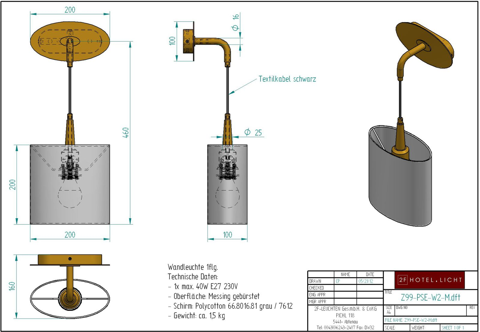 Wall lamp Pure Seed, measure: 200mmx160mm, height=510mm