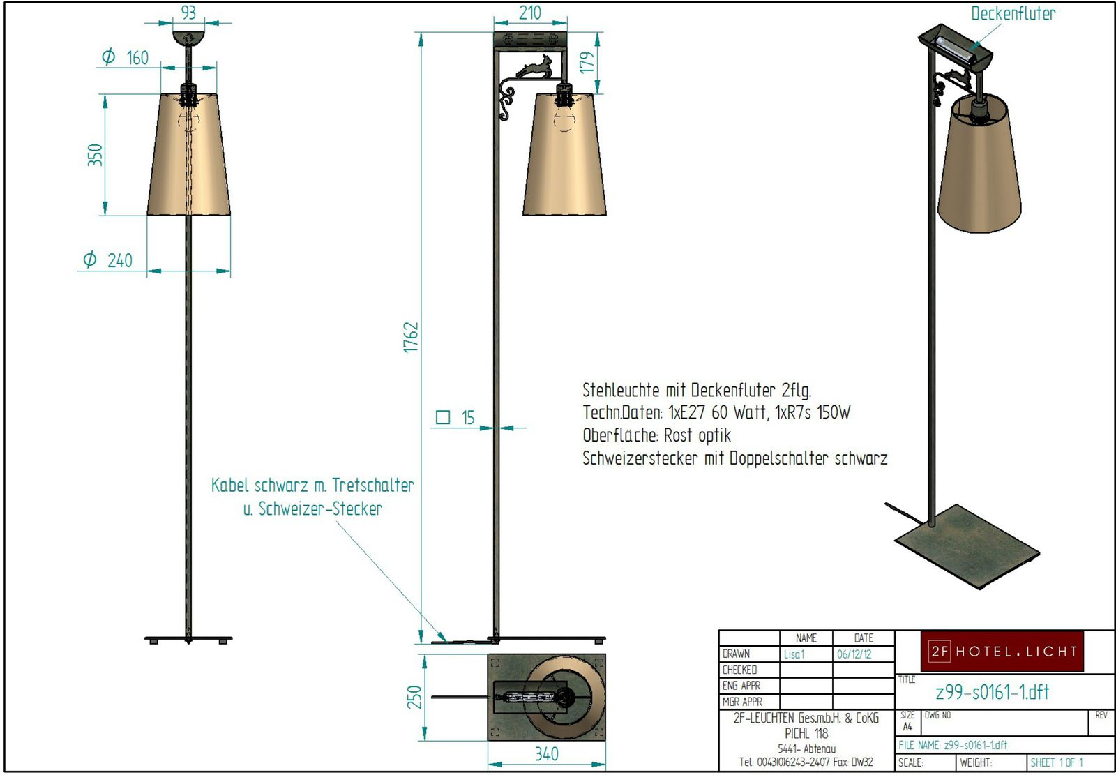 floor lamp, lenght=340mm, wide=250mm, height=1600mm, black, techn. details: 1xE27, 60W