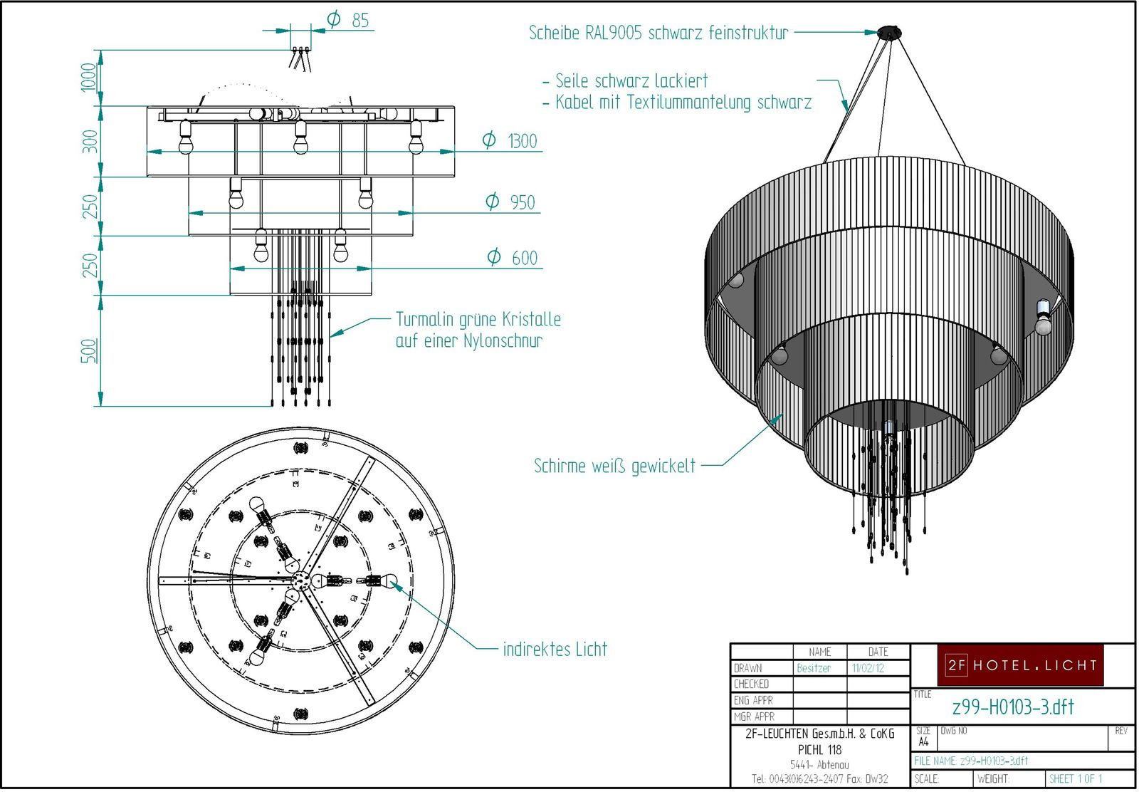 pendant lamp, lenght=600mm, height=1900mm black, techn. details: 1xE27, A60 150W 230V