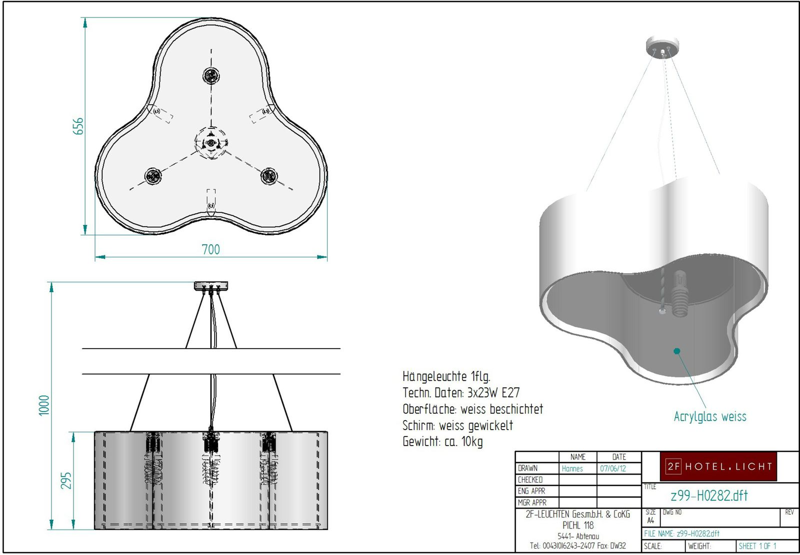 Pendant lamp, lenght=700mm, wide=656mm, height=1000mm, surface: white, techn. details: 3xE27, 3x 23W