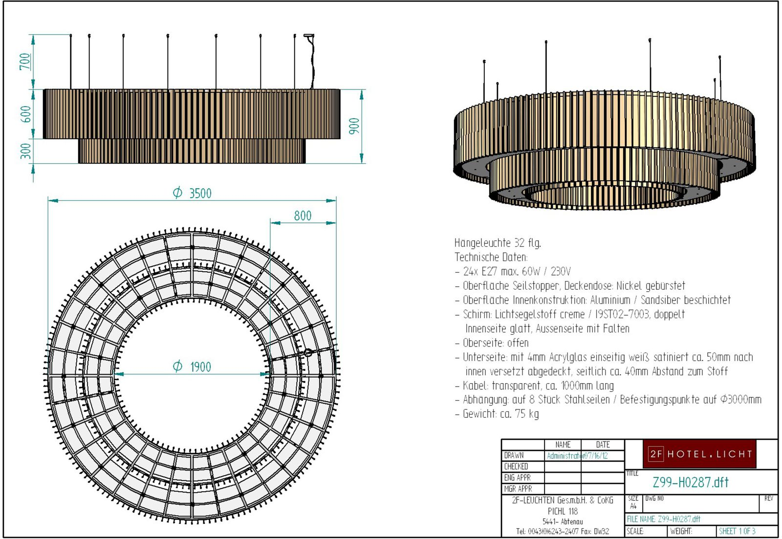 Pendant lamp, diameter=3500mm, height=1600mm, surface: nickel