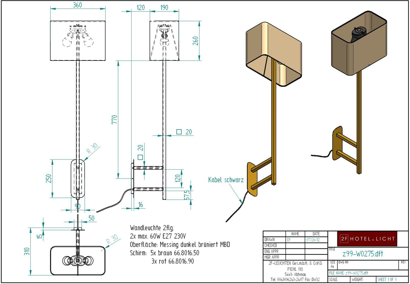 wall lamp 2 flg., height=750mm, wide=360mm, surface: bronzed brass, techn. details: 2xE27, 60W