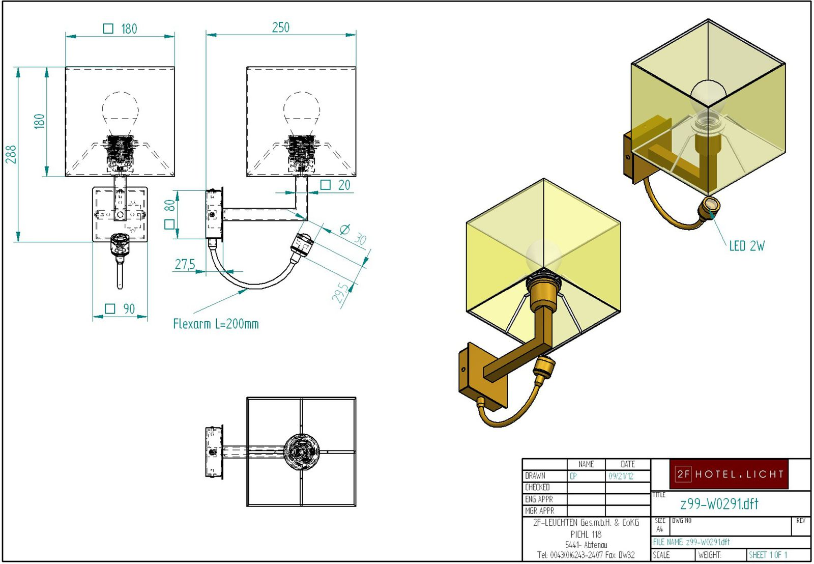 wall lamp, lenght=190mm, wide=180mm, height=290mm, surface: brass bronzed, techn. details: 1xE27, max. 42W, 230V + 2 W LED 700mA