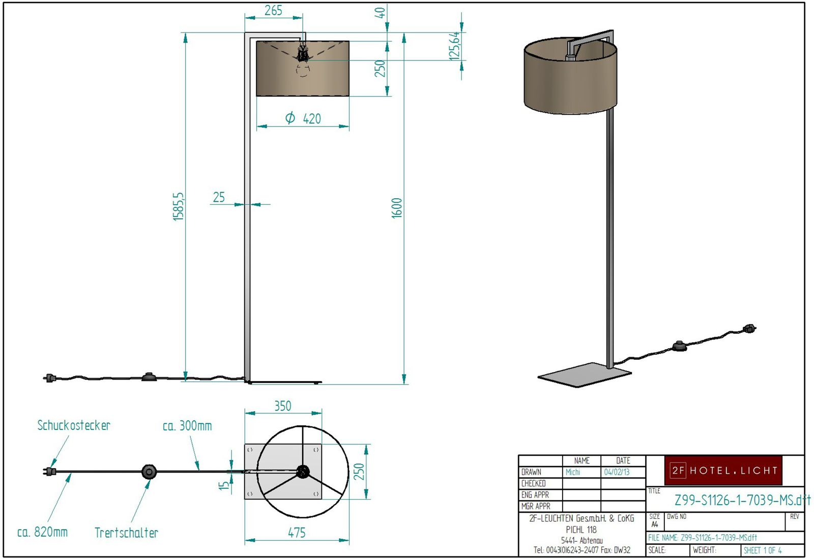 Floor lamp, L:475mm, w:420mm, H:1600mm, surface: Metal RAL 7039, techn. Data: 1xe27, 60W, cable color: black