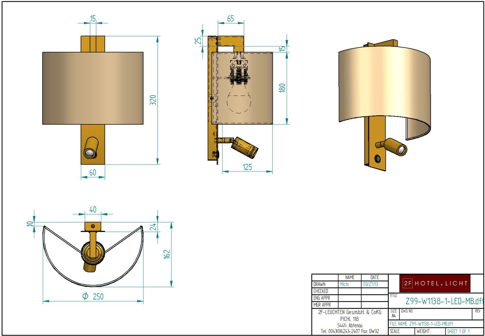 Wall lamp, L:162mm, wide:250mm, height=320mm, surface: Metall MB, techn. Date: 1xE27,60W, 1x2W LED 700mA
