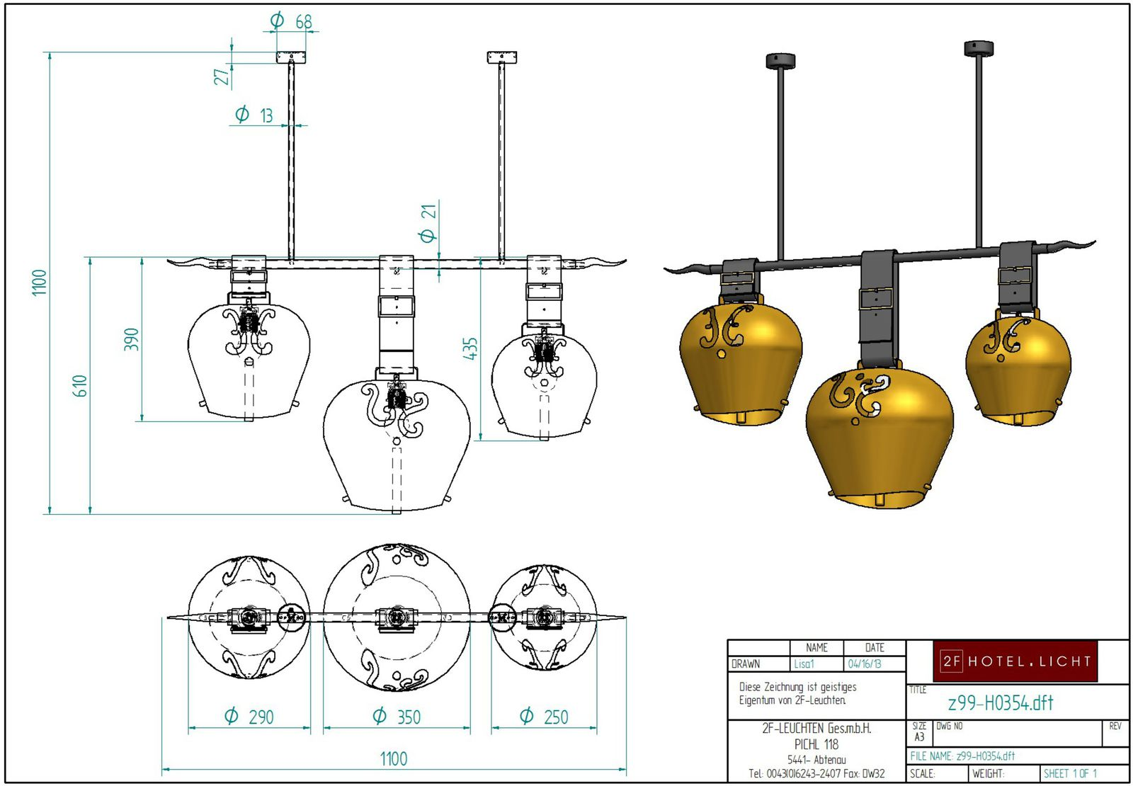 Hanging lamp, L=1000mm, B:Ø350mm, H=1000mm, surface: Metal SSW,black, techn. Date: 3xE27, 9W LED