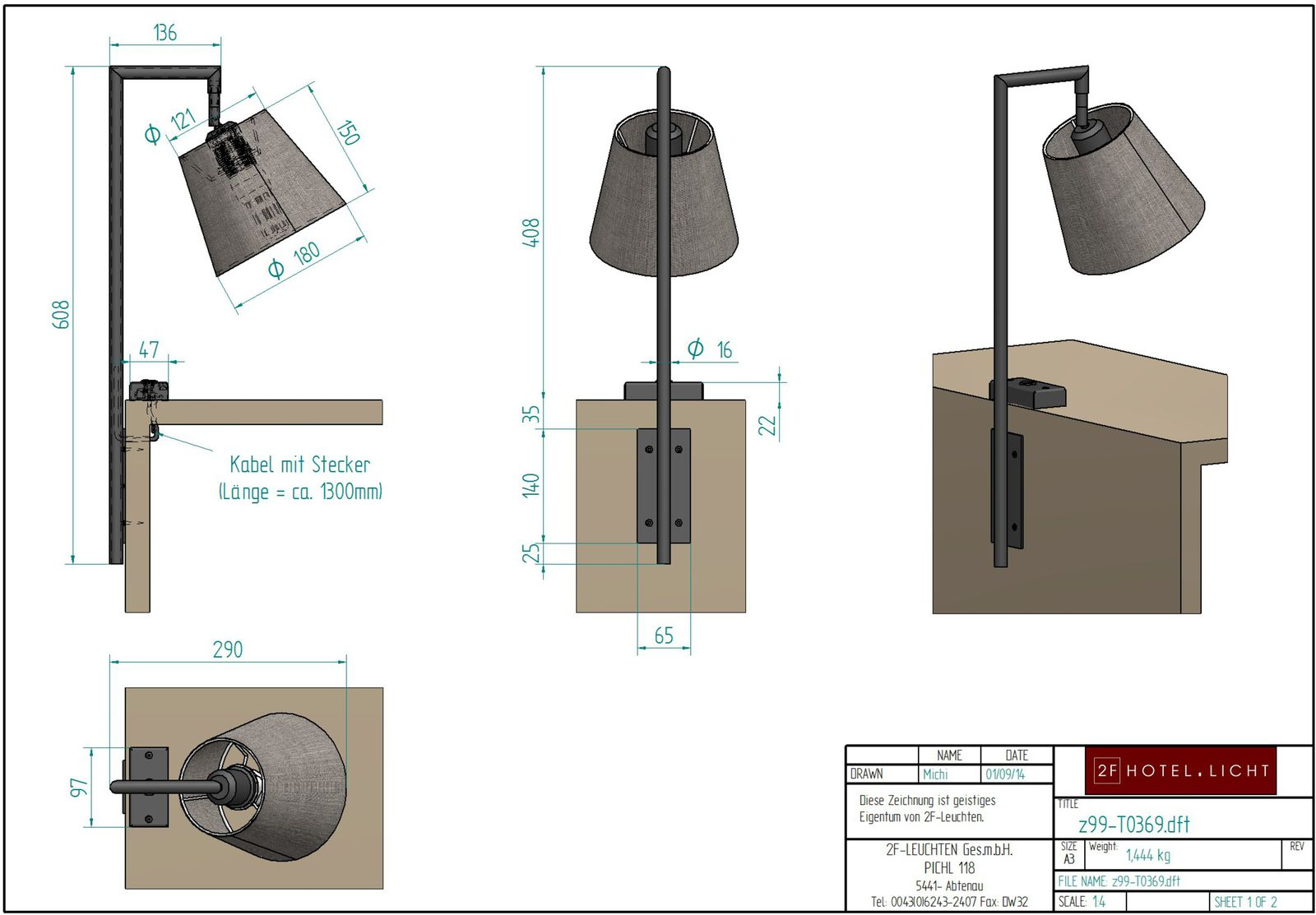 Table lamp, l=Ø180mm, wide=330mm, height=390mm, surface: wrought iron, black, techn. Data: 1xE27, 11W