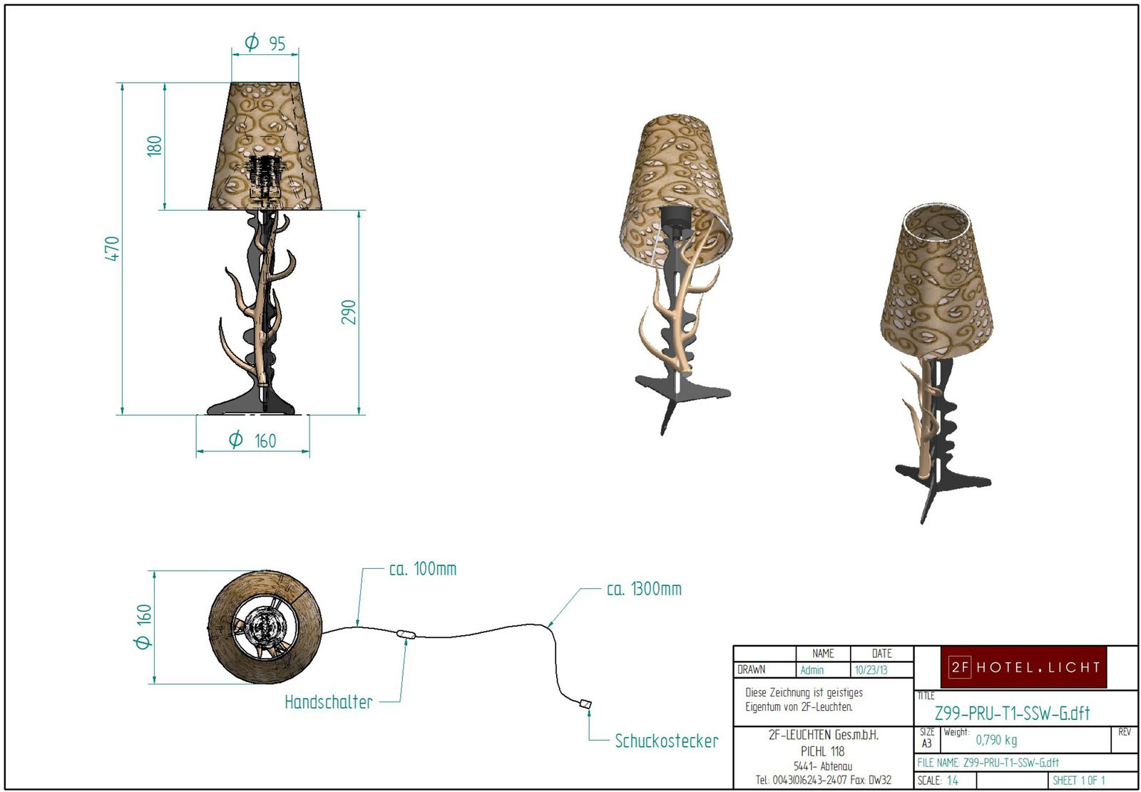 Table lamp Pure Rustica 1 flg. with horn, height complete:470mm, shade: height=180mm, diameter upside=95mm, diameter=190mm, surface: bronzed soft black, black cable, techn. details: 1xE27, 28W/290V
