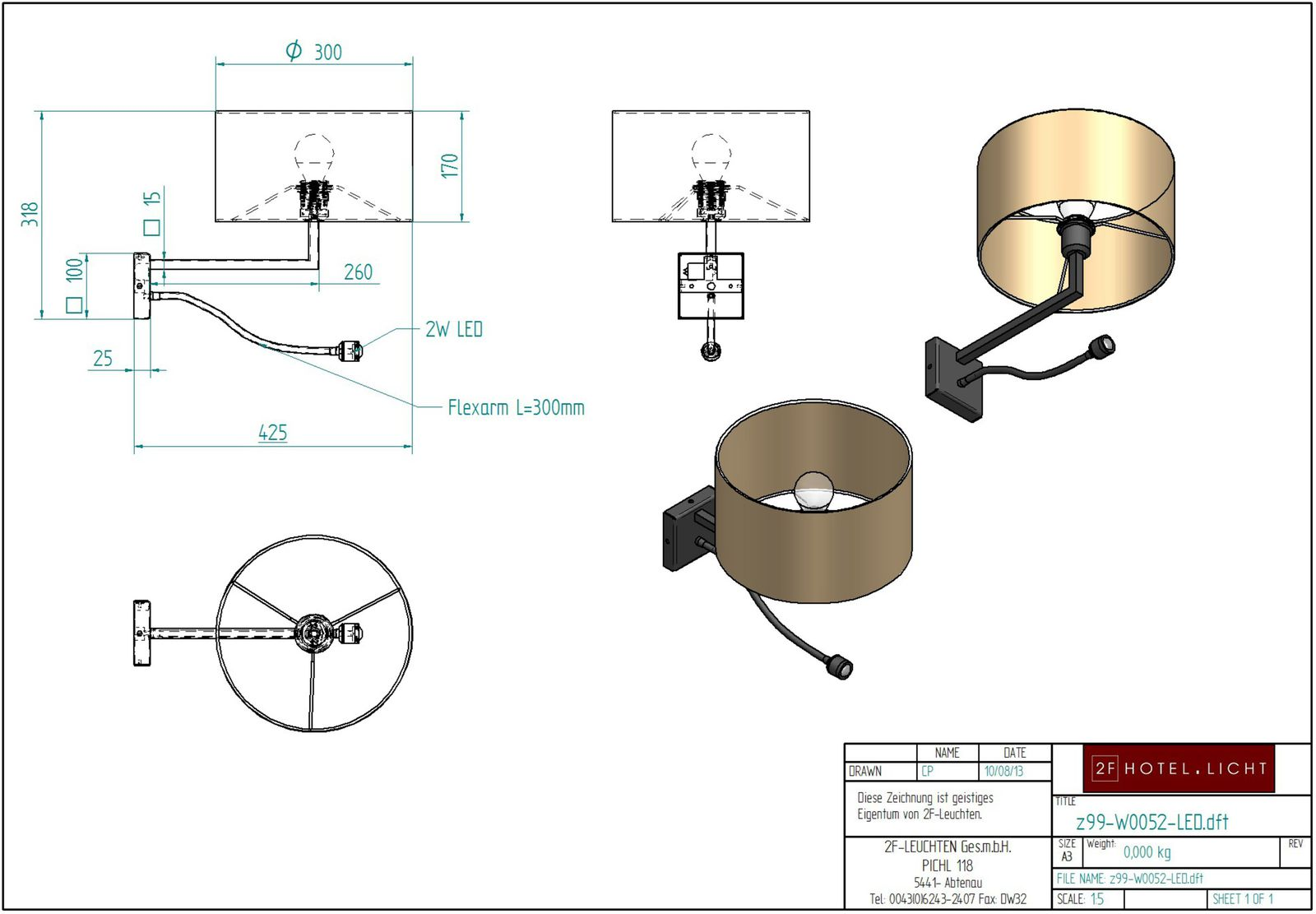 wall lamp 1 flg., height=320mm, length=550mm, wide=100mm, surface: softblack coated, technical details: 1xE27, 60W