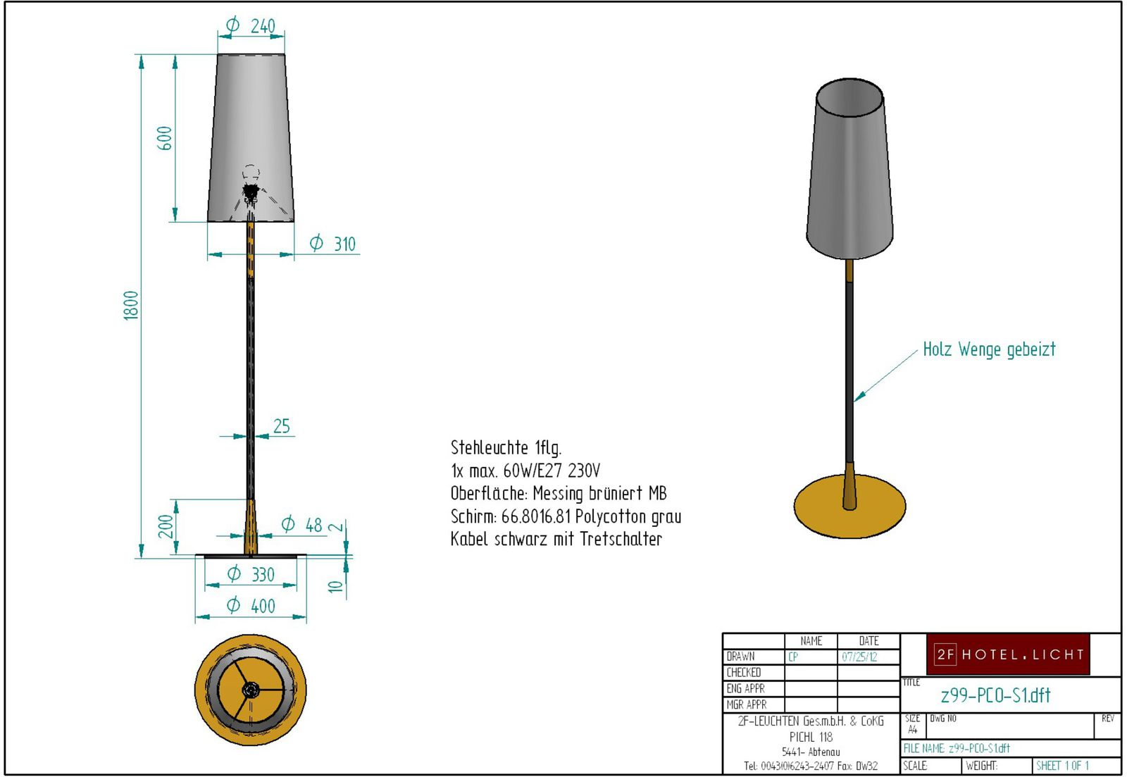 Floor lamp Pure Combi, lenght=diameter 400mm, height=1800mm, surface: bronzed brass, techn. details: 1xE27, max. 60W, 230V, black