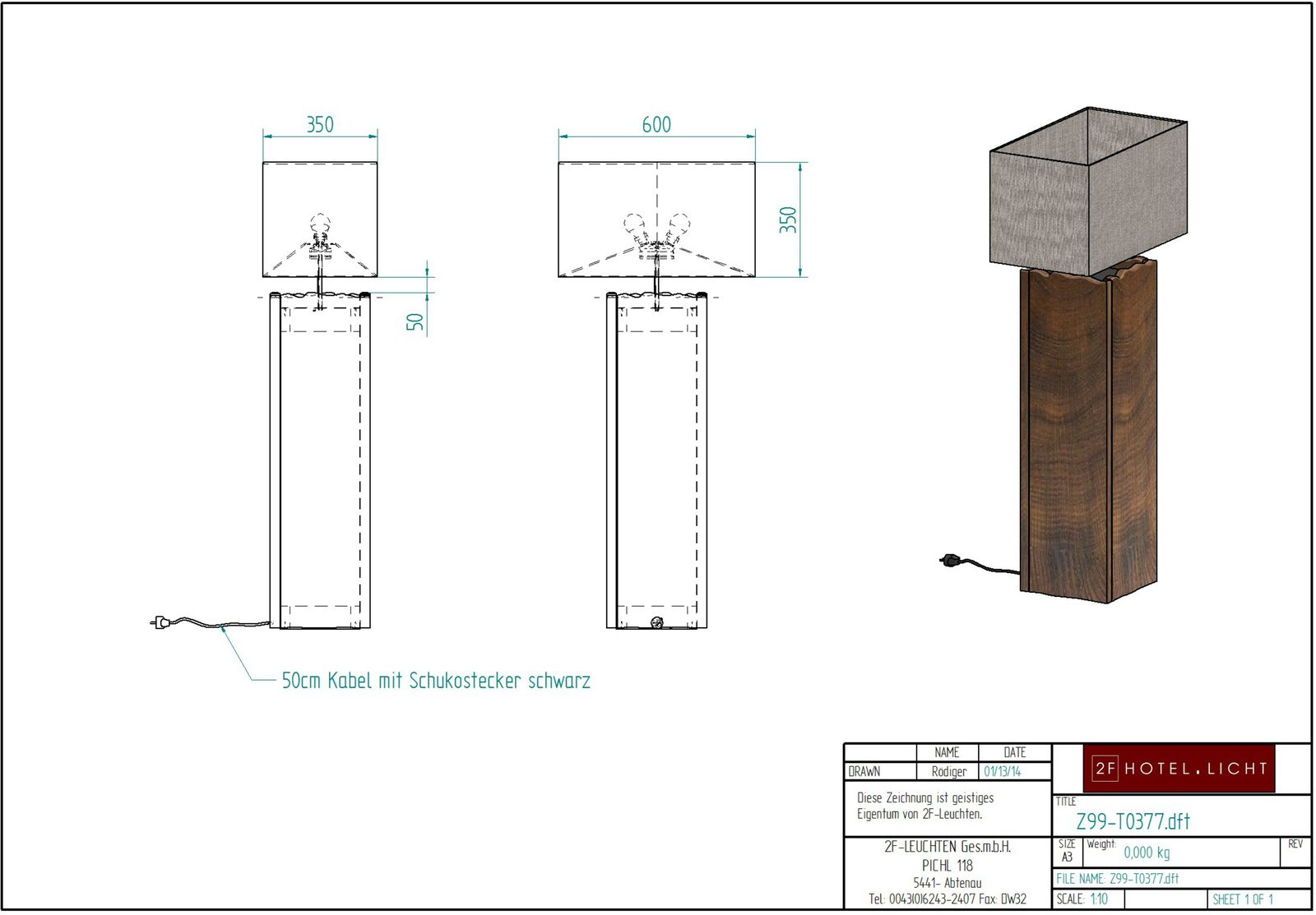 floor lamp, length=600mm, wide=350mm, height=1450mm, surface: ABR Antique brown, techn. Data: 2xE27, 52W Energy Saver, black cable
