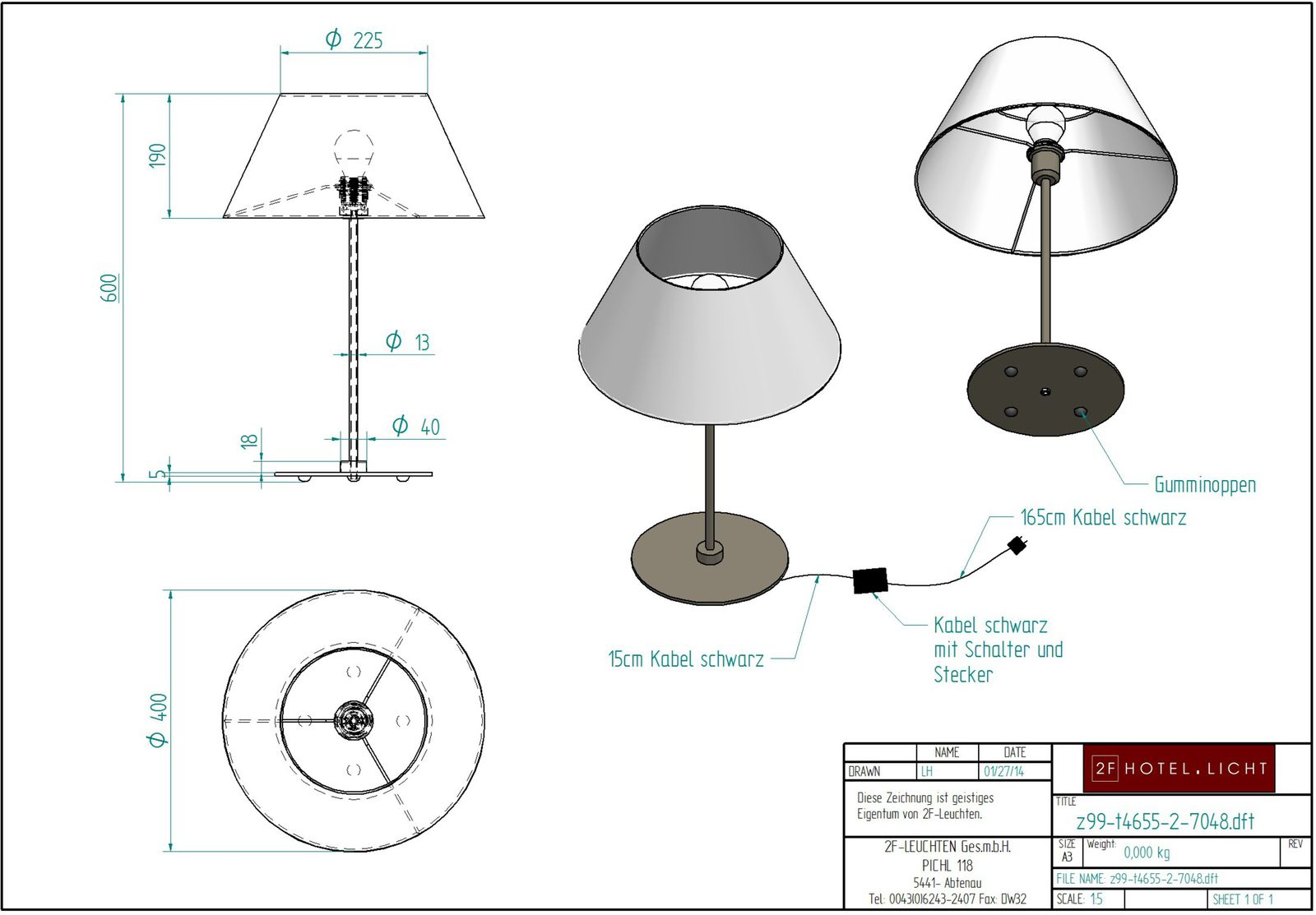 table lamp 1 flg., height=610mm, base plate Ø=180mm, shade: height=250mm, wide 105x150mm, surface: chrom, techn. details: 1x27, 28W