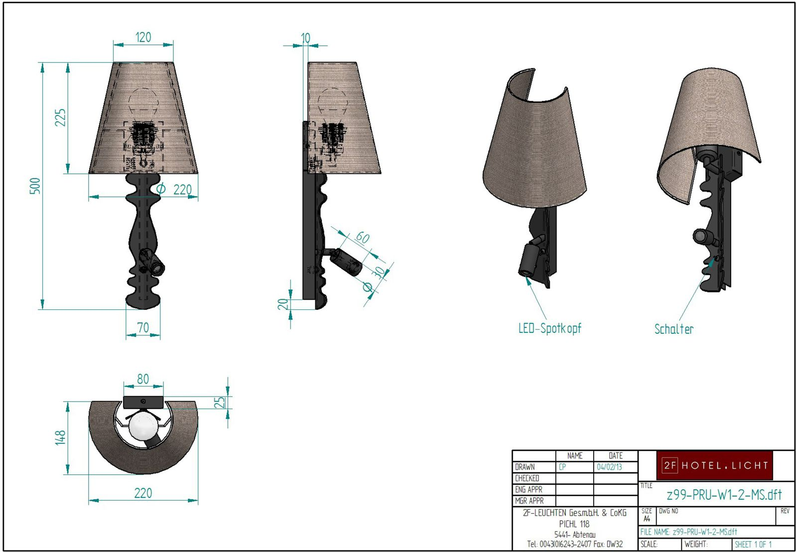 Wall lamp Pure Rustica, 220x140mm, height=503mm, surface: wrought iron, LED