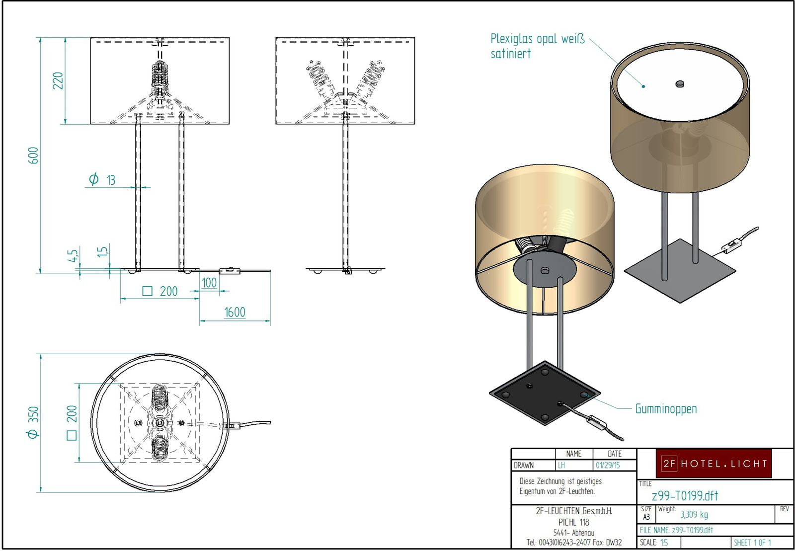 table lamp, l=Ø350mm, height=600mm, surface: metall, CM nickel brushed, techn. Data: 2xE27, 15W, cable: transparent